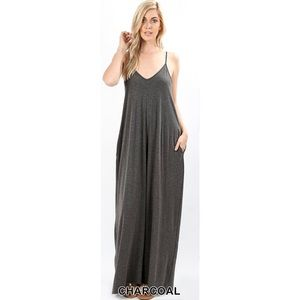 Hannah Beury Dresses - Charcoal Maxi Dress with Pockets